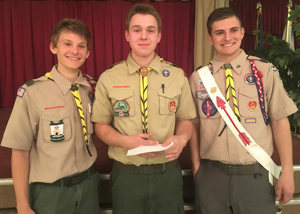 Ben Knisely, Noah Yeich and Clayton Wagner pose in this photo that was taken in March at American Legion Post 594 in Middletown.