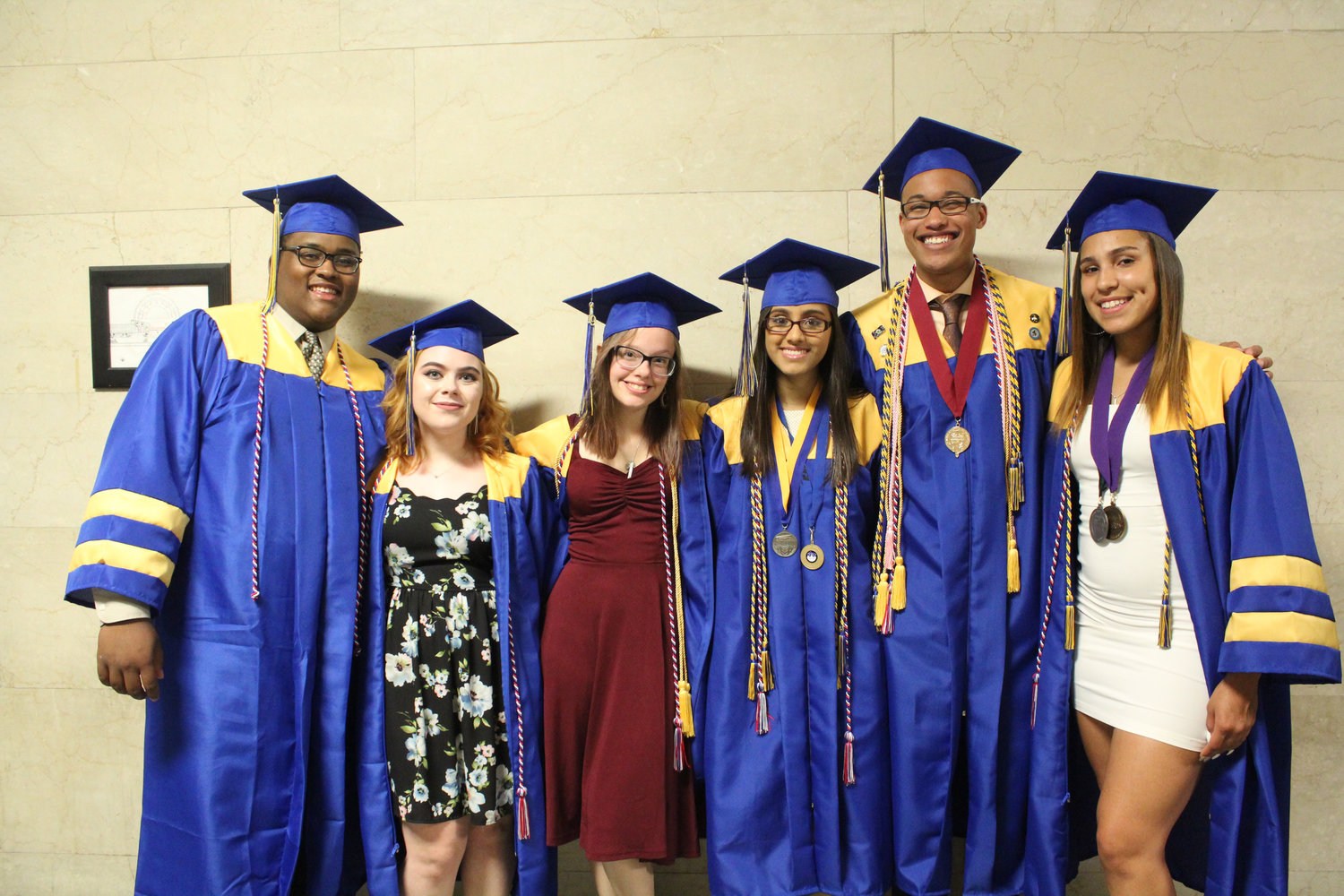 Members of the Youth and Government club Elijah Smith, Valerie Wilmath, Stephanie Finsterbush, Aayushi Patel, Terrance Jefferson and Jocilyn Koser pose before MAHS graduation June 4.