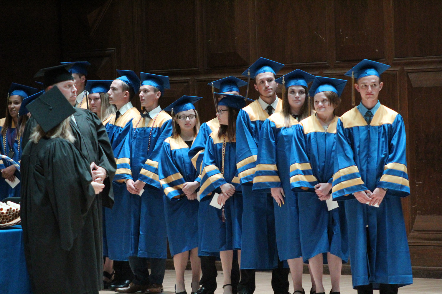 MAHS seniors line up to receive their diplomas during graduation on June 4.