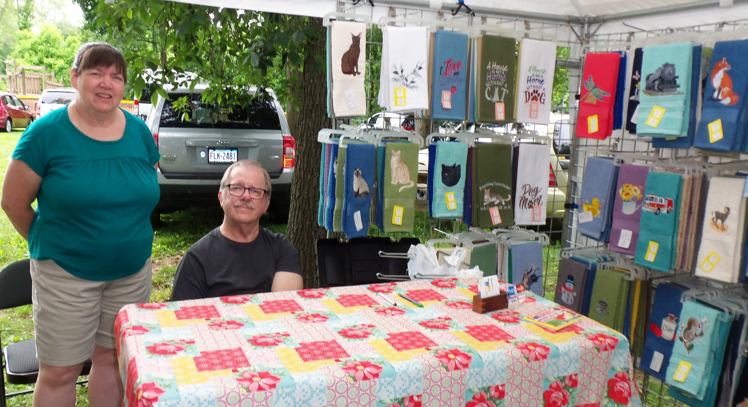 Embroidered Edge Inc. was one of the roughly 100 vendors on display at the Middletown Area Historical Society's Arts & Crafts Fair on June 8. Carolyn and Jeff Singley of Gettsysburg are Embroidered Edge's proprietors.