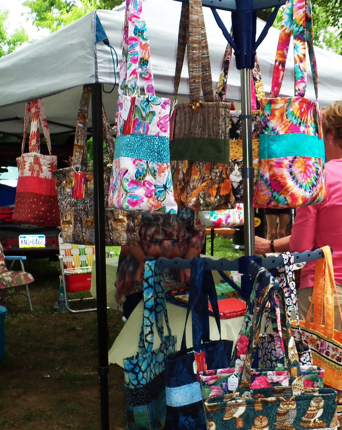 "Obie's Originals ""handy totes"" were one of many items available for sale at the Middletown Area Historical Society's Arts & Crafts Show on June 8. Obie's proprietor is Susan Obenchain of Manheim."