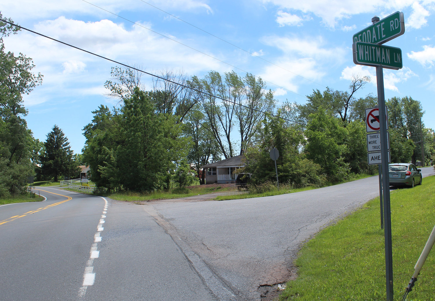 Londonderry Township is proposing to narrow this intersection of Deodate Road and Whitman Lane.