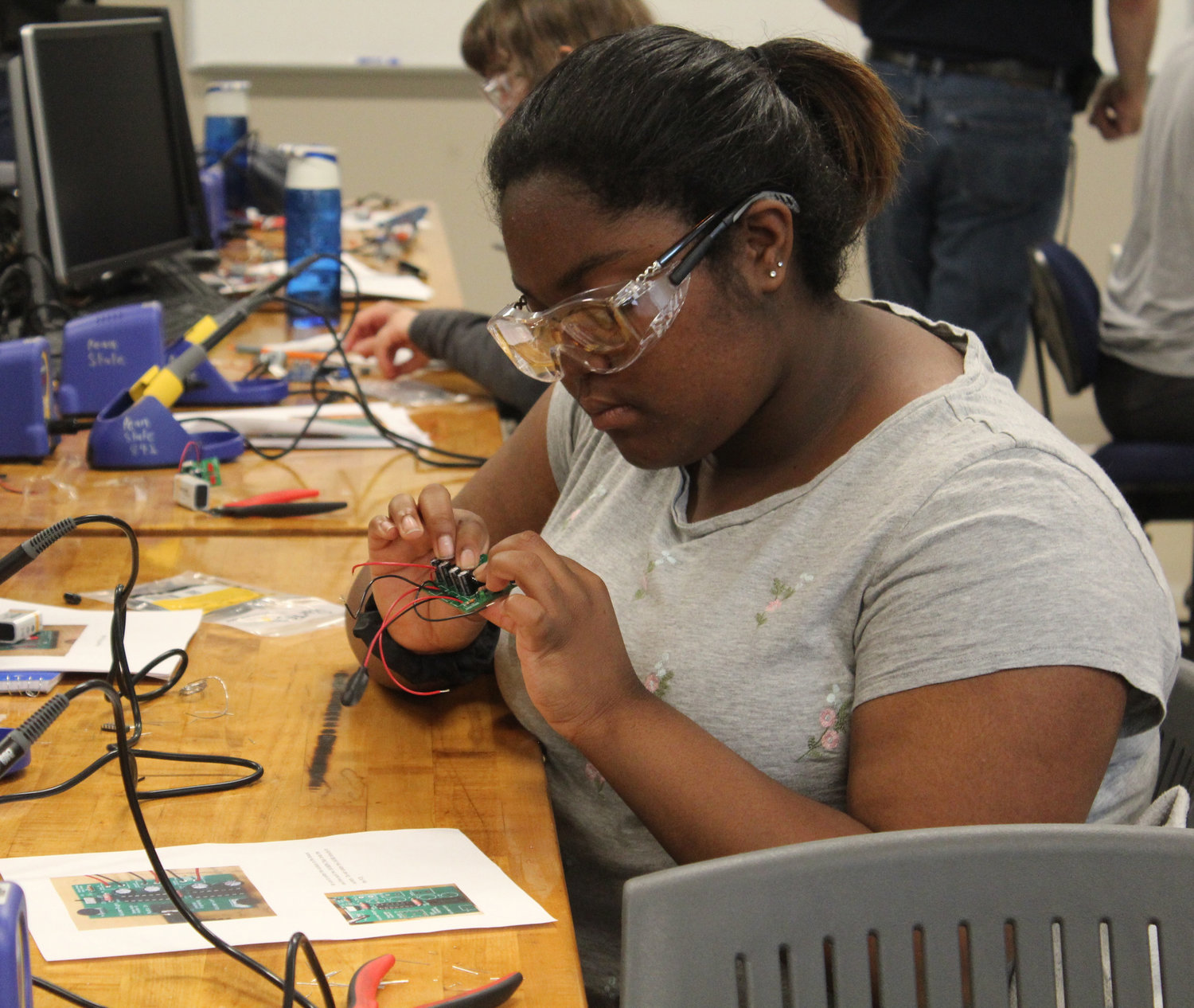 Harrisburg Academy student Linsai Jackson works during the electrical engineering lab during Penn State Harrisburg's STEM Summer Enrichment Program on June 19.