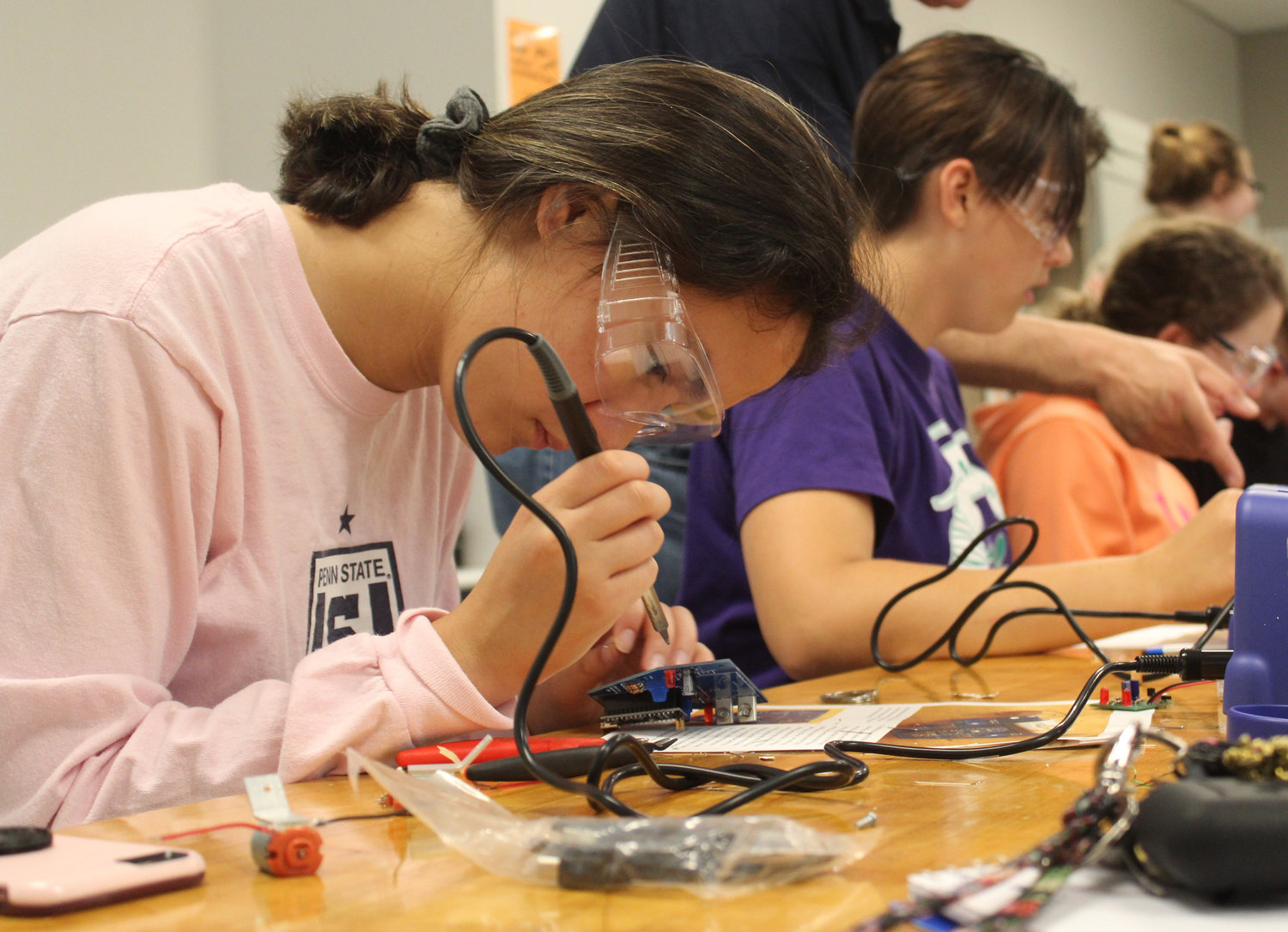 Central Dauphin student Aniela Lee works during the electrical engineering lab during Penn State Harrisburg's STEM Summer Enrichment Program on June 19.