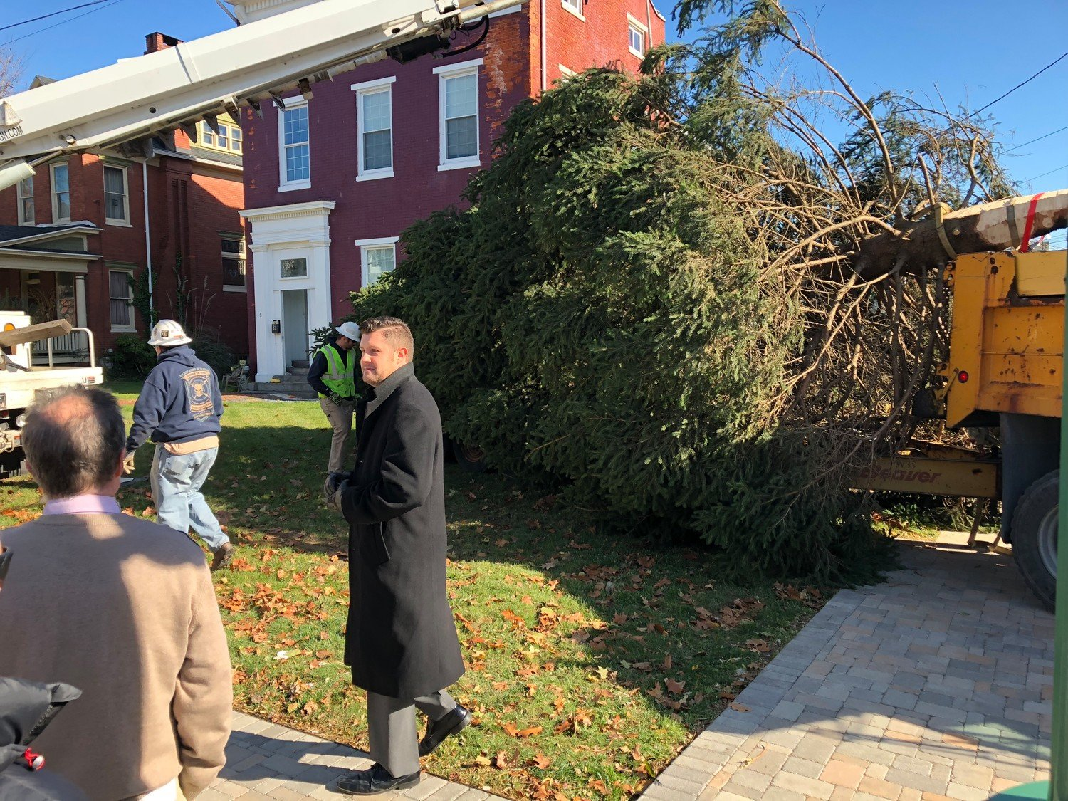 Mayor James H. Curry III was on hand in November 2017 when the Christmas tree was put in place in advance of the borough's annual Christmas tree-lighting ceremony, on the McNair House property at the corner of Union and Emaus streets. The ceremony was held at St. Peter's Kierch in 2018, and the mayor said he prefers it continue to be held there.