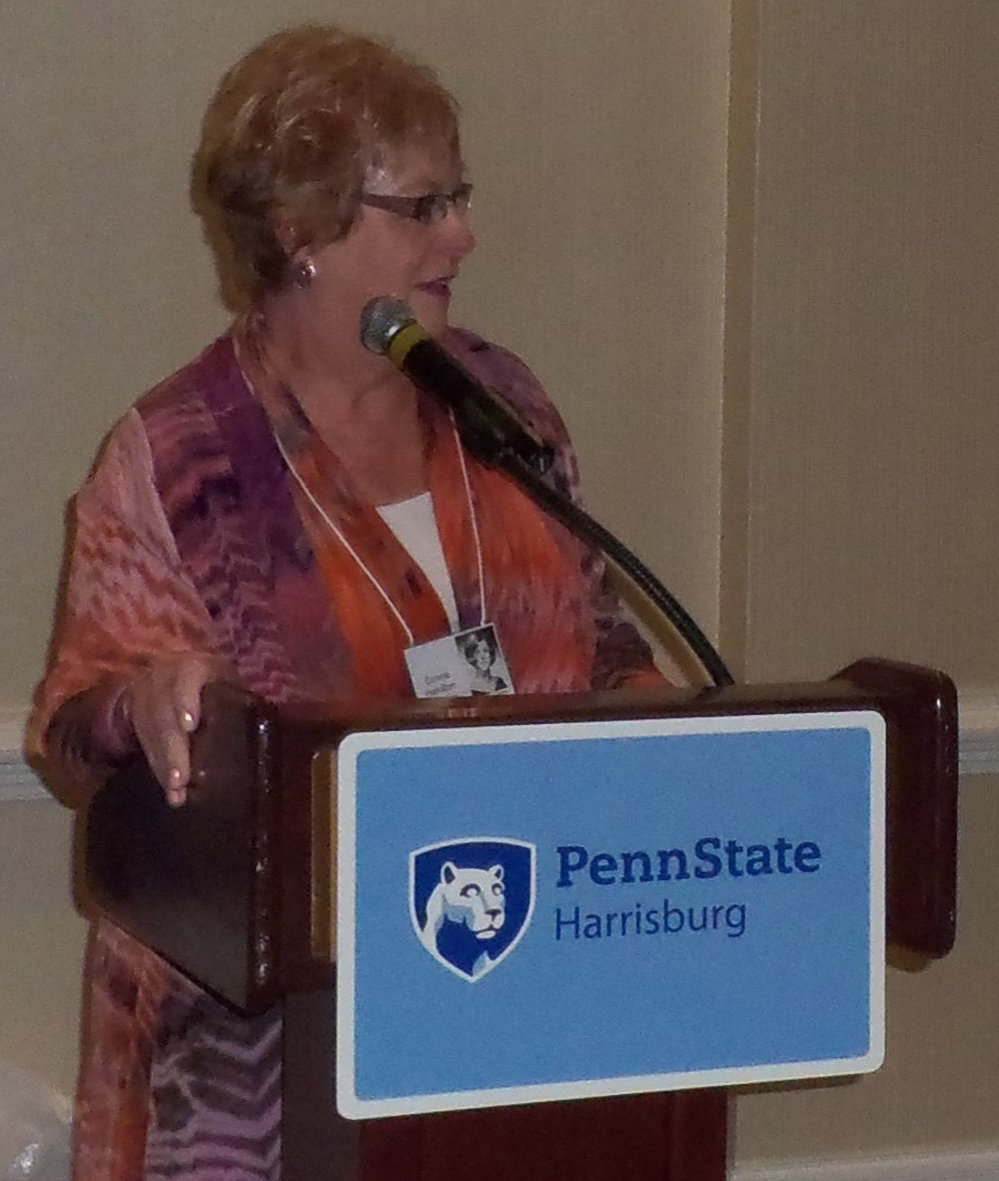 PSU Capital Campus 1969 alumna Connie Bowden welcomes guests at the 50th-year reunion. Bowden served on a committee that organized the June 22 event at Sheraton Hershey Harrisburg.