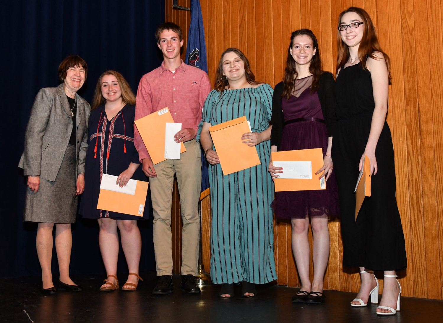 The Rotary Club of Hummelstown recently presented five graduating Lower Dauphin High School students with $2,000 scholarships. Rotary Club member Jean Seibert, left, presents the scholarships on behalf of the club to graduating seniors Madison Shradley, Josiah Helmer, Carli Little, Vanessa Skidmore and Sophia Yocum. The scholarships, named in honor of Herbert A. Schaffner, are given to seniors who demonstrate good character and academic excellence. The scholarship fund is maintained with proceeds from the club's annual golf outing. Now in its 27th year, the golf tournament has provided funding for more than $240,000 in scholarships to Lower Dauphin students.
