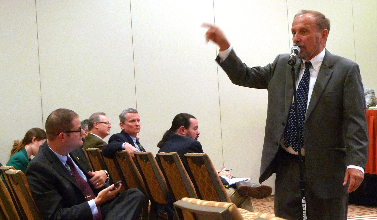 Gene Stilp addresses the audience during the July 23 hearing.