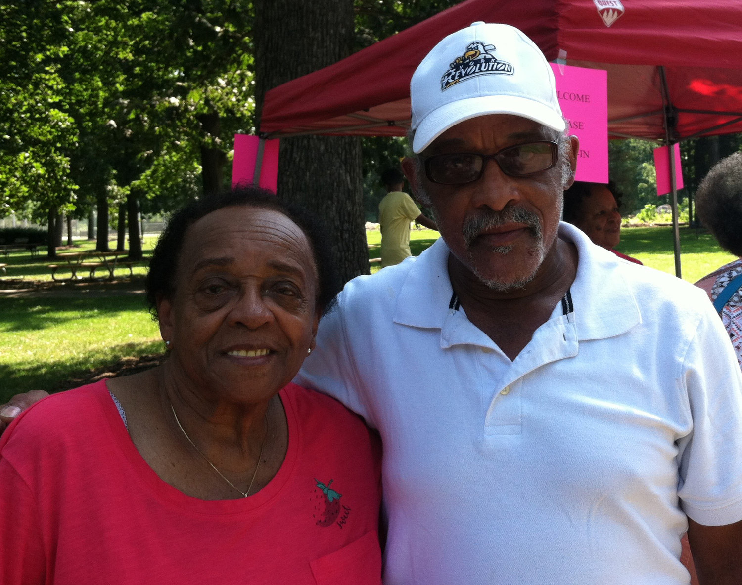 94-year-old Doris Anderson of Middletown with her son, Ron Anderson, during the second annual Middletown Village Reunion at Hoffer Park on Saturday.