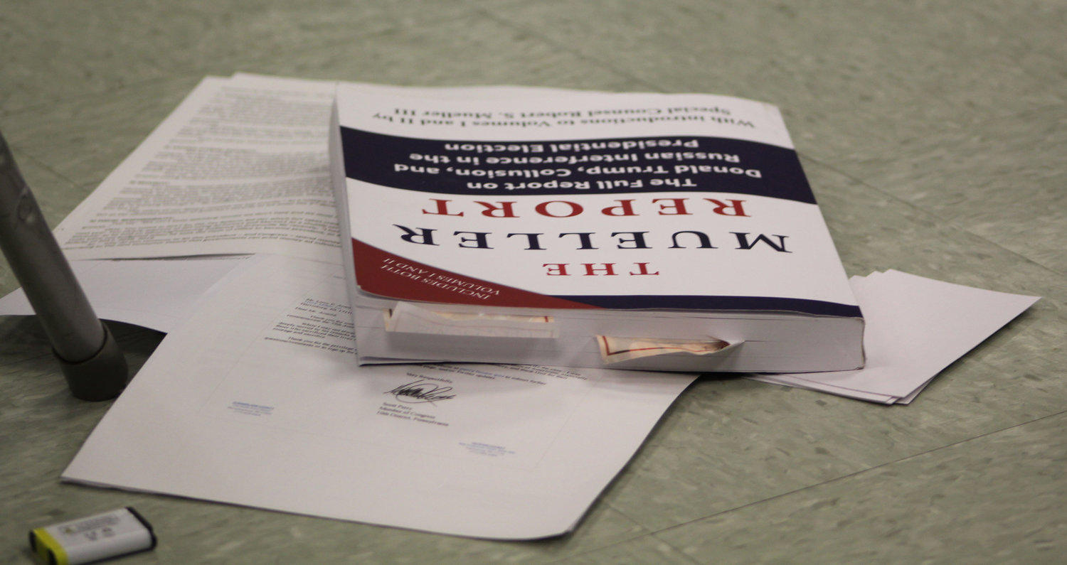 One constituent brought a copy of the Mueller Report, or the Report on the Investigation into Russian Interference in the 2016 Presidential Election, to Congressman Scott Perry's town hall on July 30.