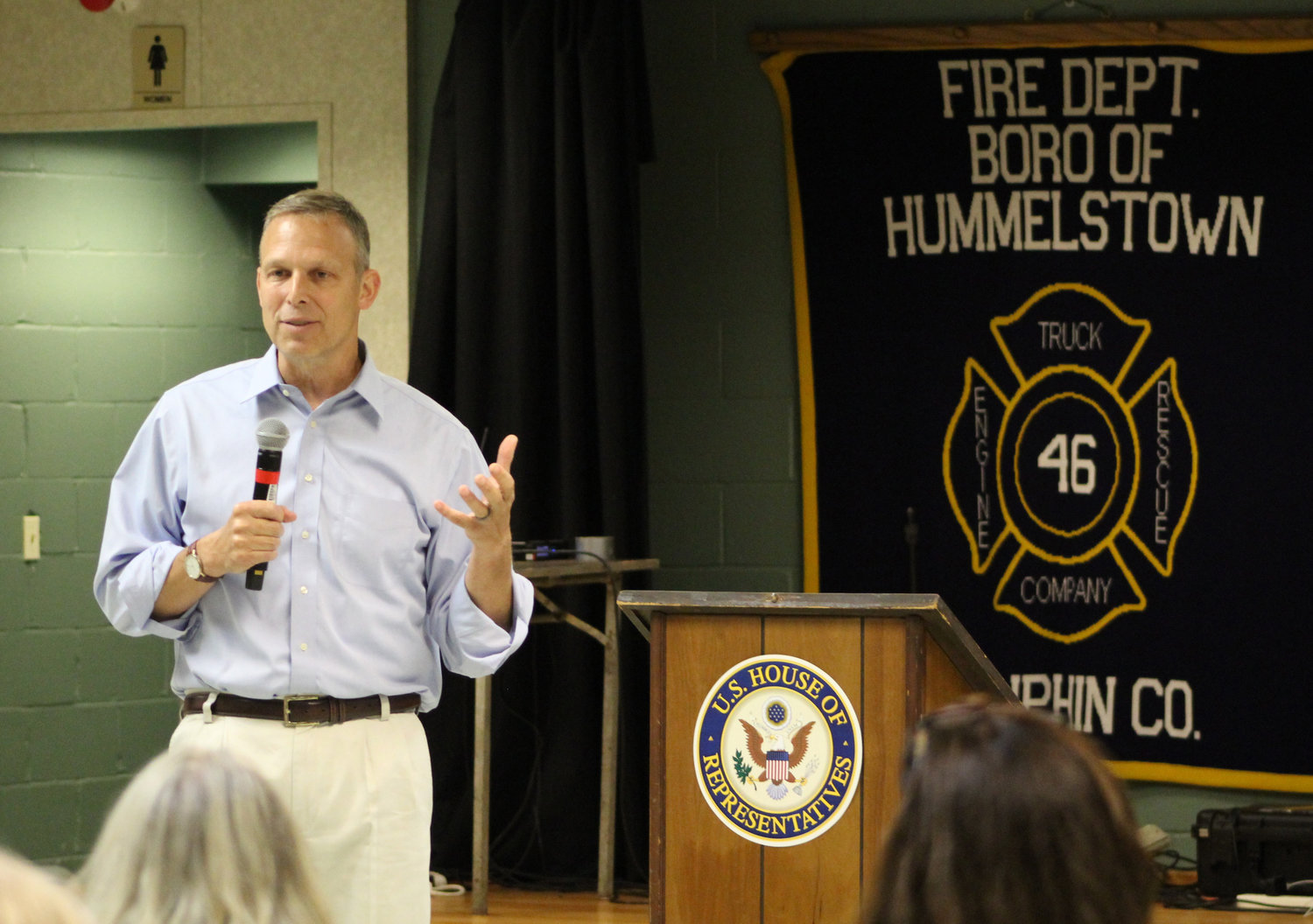 Congressman Scott Perry speaks during a town hall at the Hummelstown Fire Department on July 30.