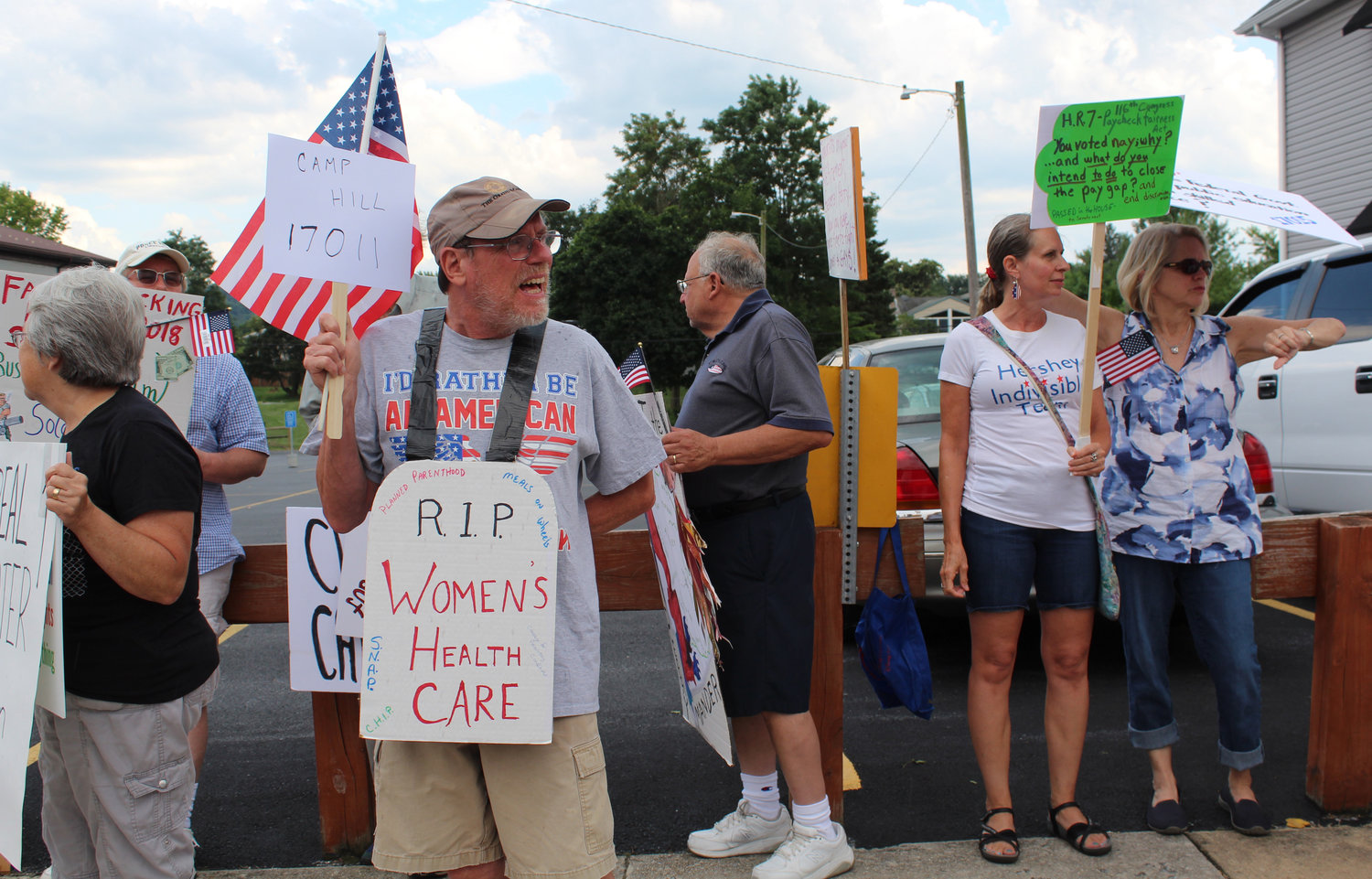 Tom Roller, of Camp Hill, protests Congressman Scott Perry's town hall on July 30.