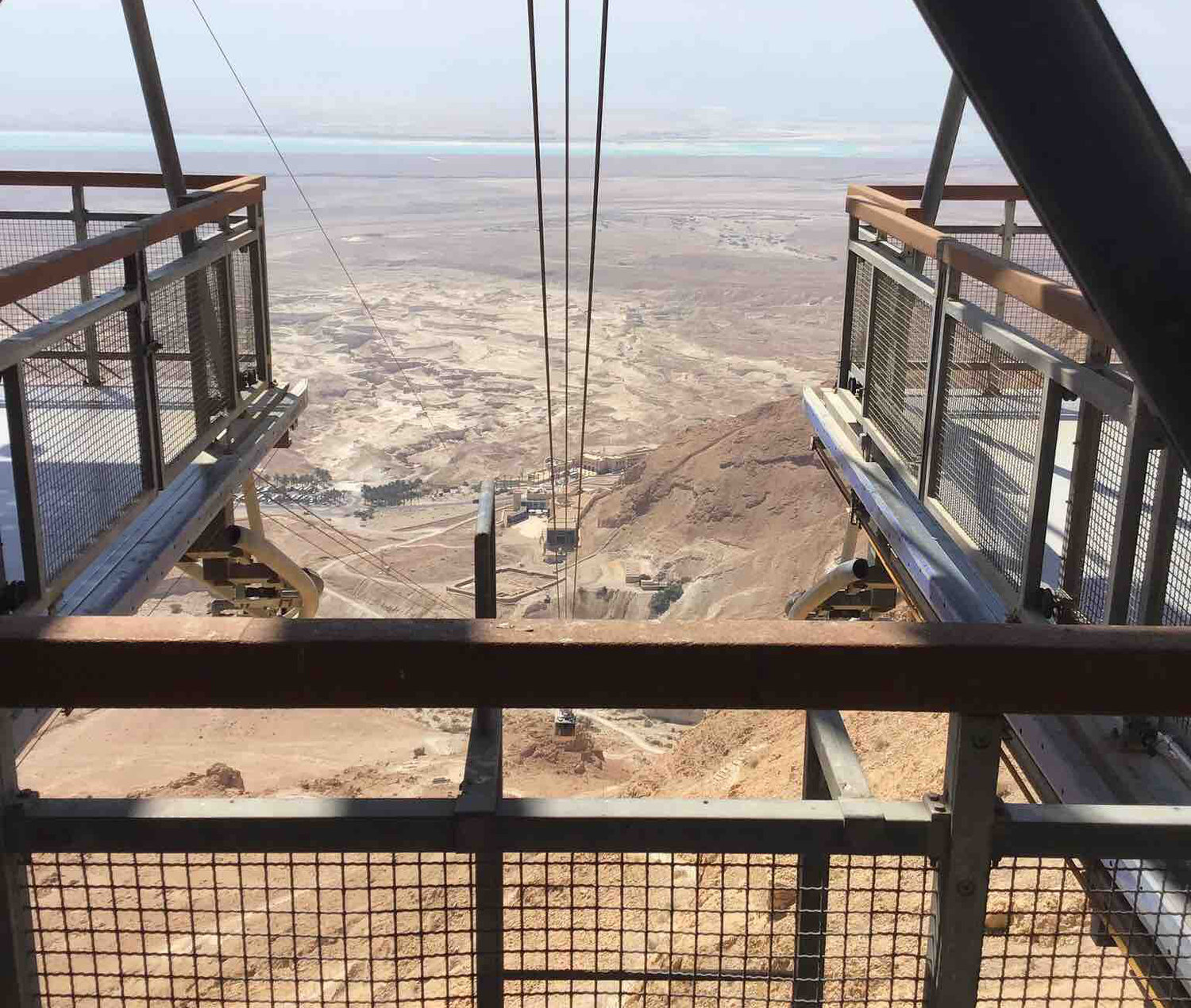 Cable car take people up and down to Masada.