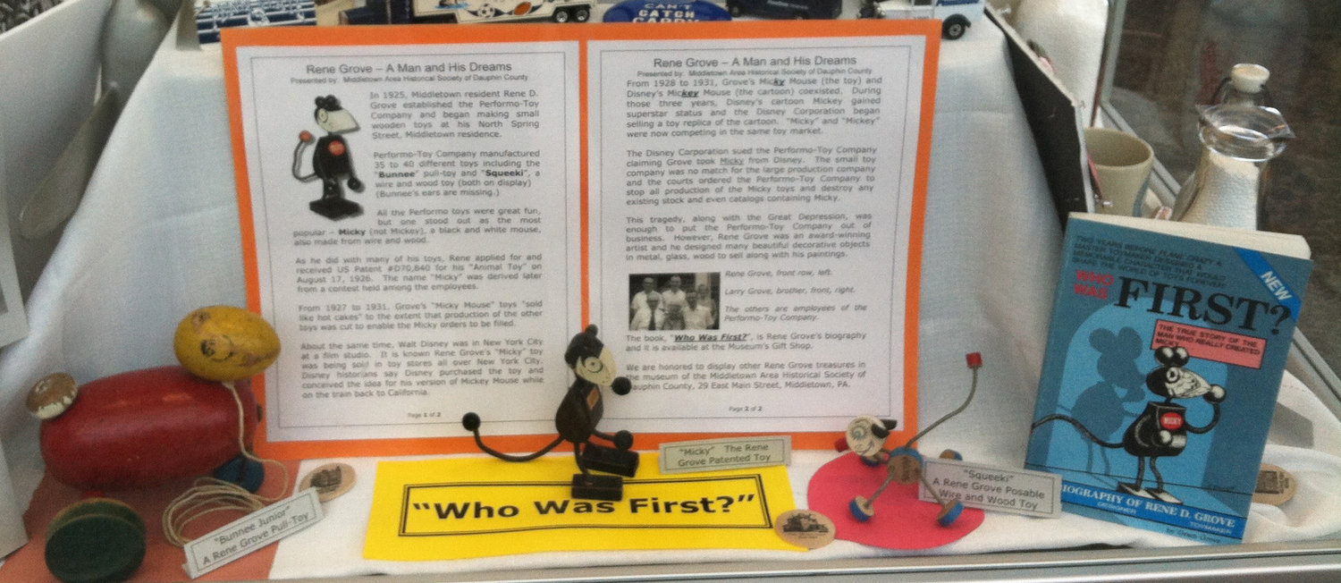 Travelers passing through Harrisburg International Airport can learn about Middletown's connection to Mickey Mouse, as part of the Middletown Area Historical Society exhibit on display in the airport terminal.