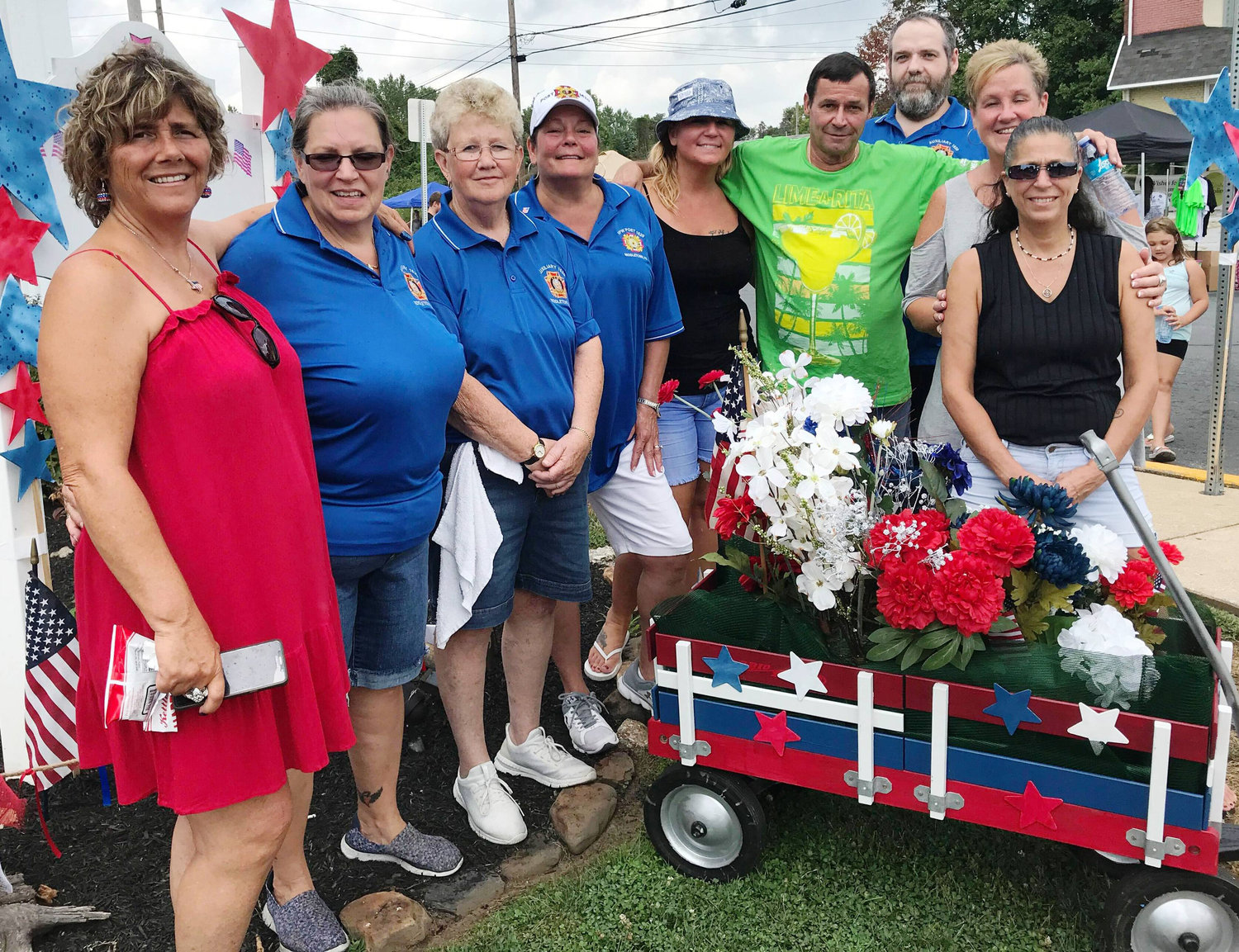 Middletown VFW Post No. 1620 Auxiliary hosted its first Freedom Community Festival on Aug. 17. Members are shown here with a wagon designed for the occasion by Dawn Markle, sister of event chairwoman Tina Cobaugh, left.