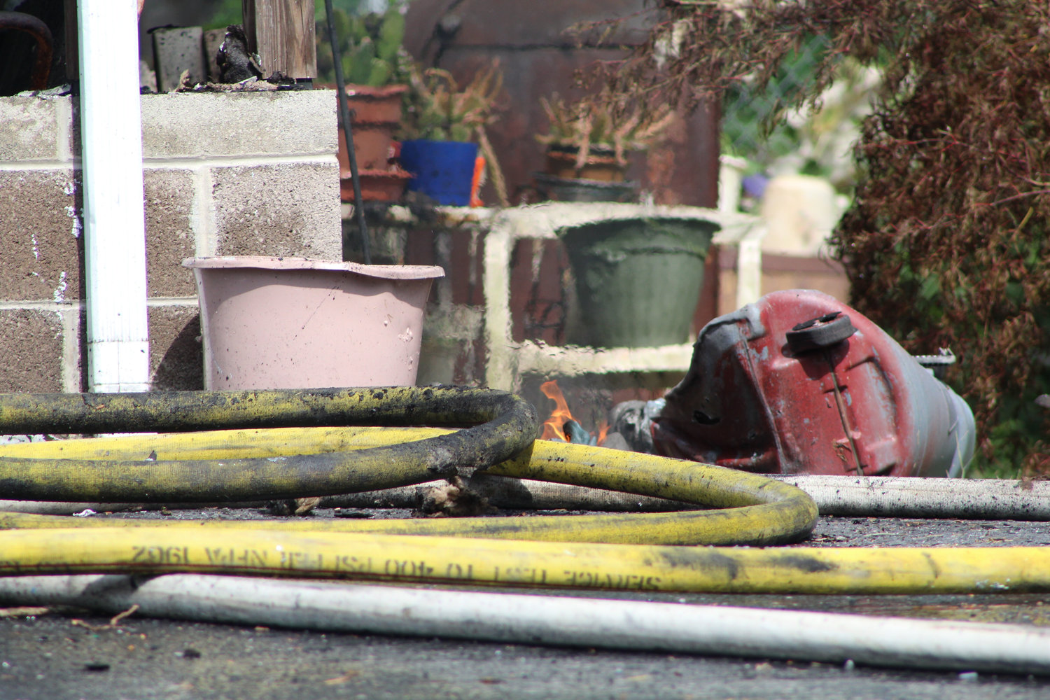 A flame was still lit outside of a home on the 1800 block of Water Street. Firefighters responded this afternoon.