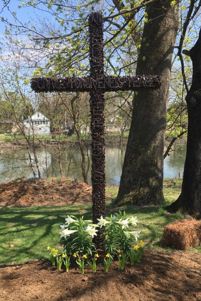 A cross made of nails at New Beginnings Church on South Union Street is shown standing in this undated photo before it was pullled from the ground last week.
