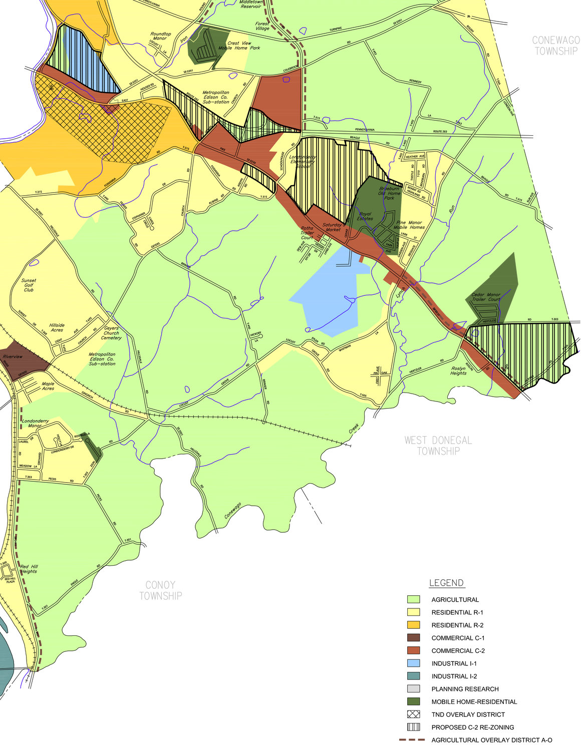 The above map shows zoning for Londonderry Township. The striped areas indicate where the C-2 commercial district will be expanded if approved by township supervisors.