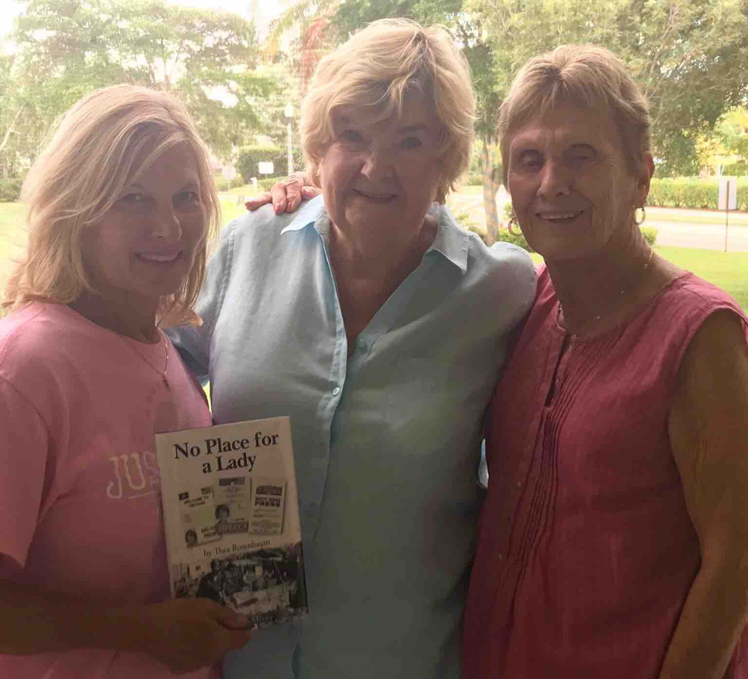 LaVonne Ackerman, left, with author Thea Rosenbaum and Dolly Eshenaur.