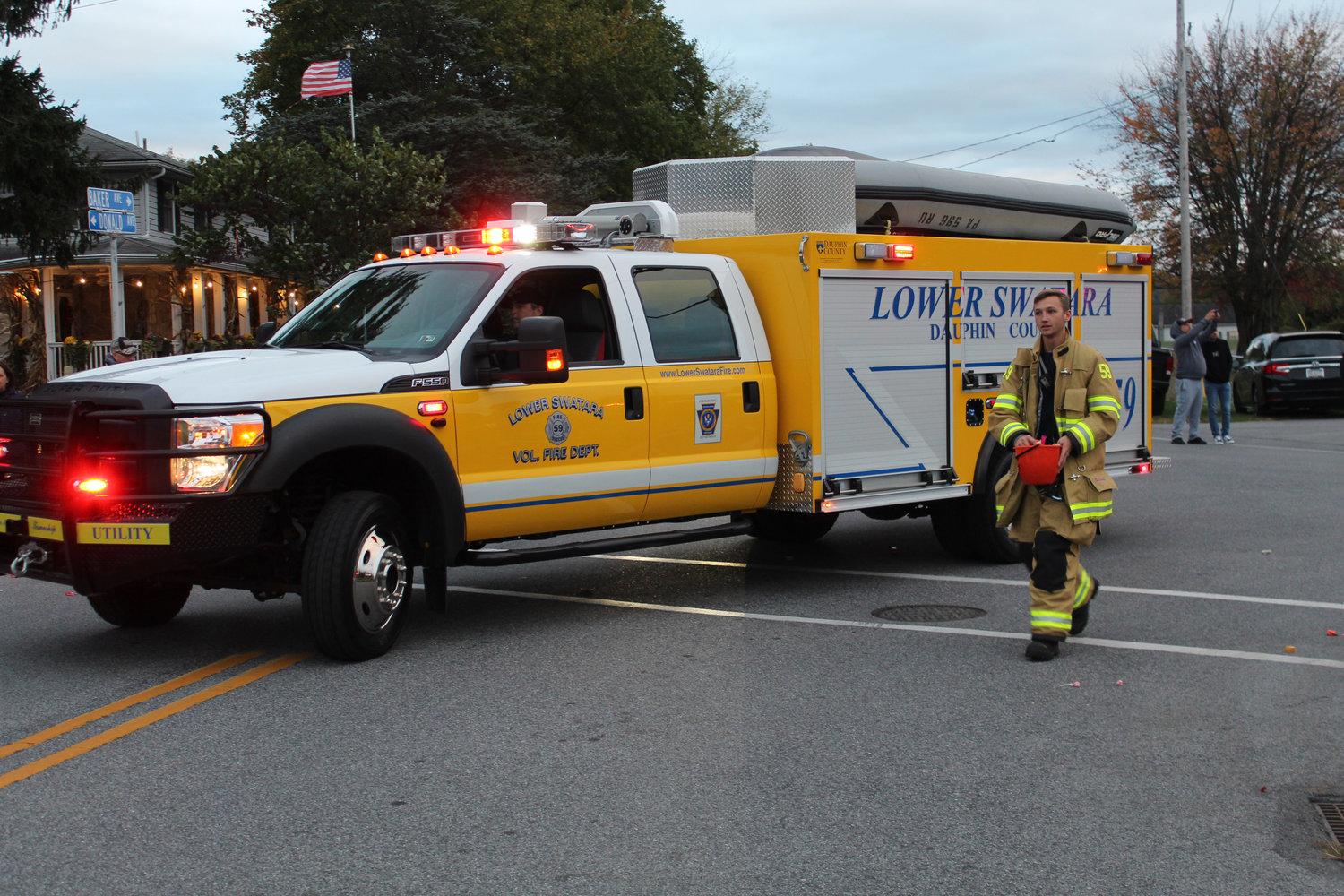 Lower Swatara firefighters walk in the Lower Swatara Halloween parade Oct. 17.