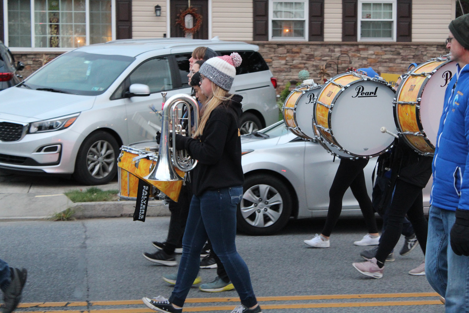 Members of the Middletown Area High School band march in the Lower Swatara Halloween Parade on Oct. 17.