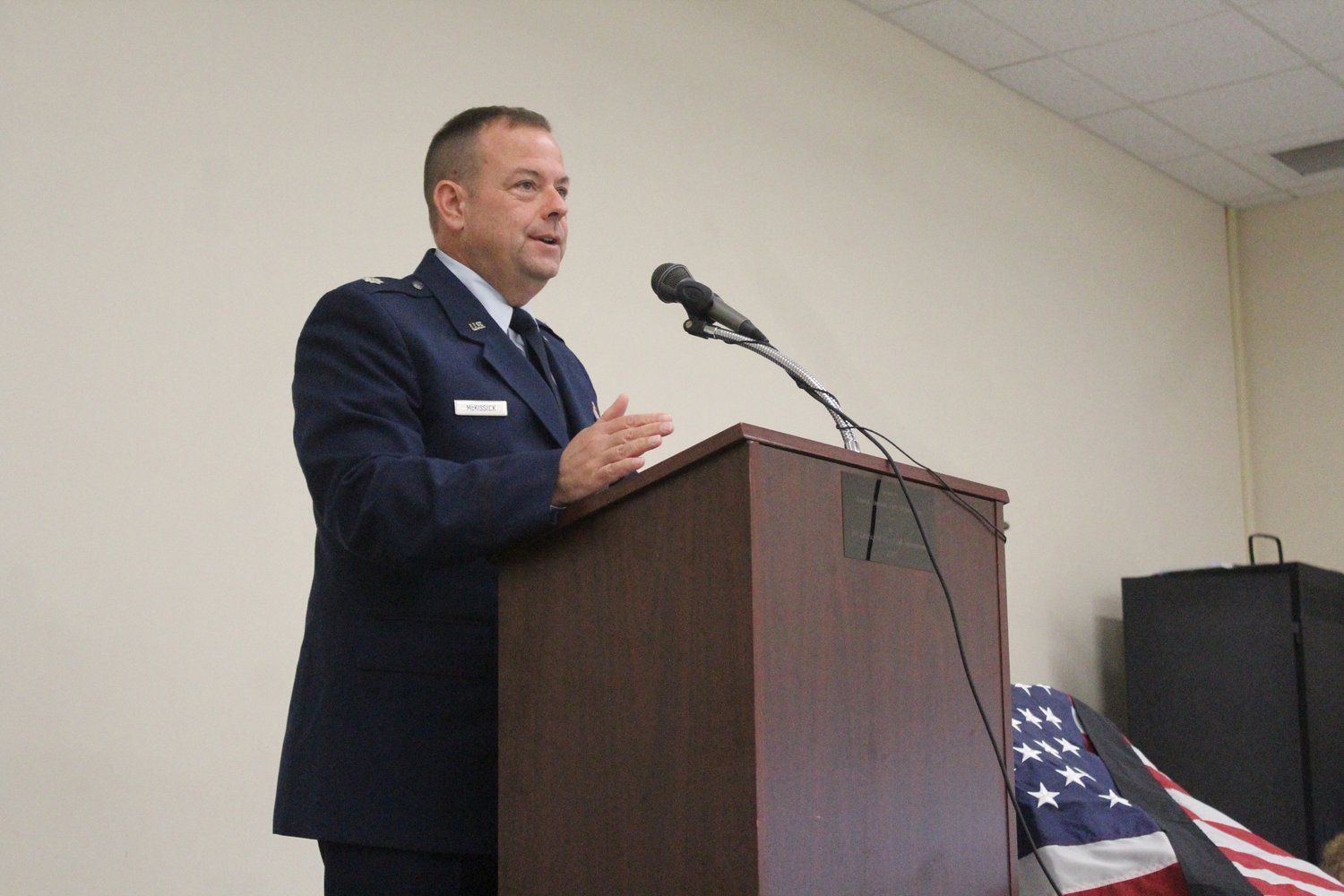 The keynote speaker was Commander of the 193 Special Operations Maintenance Group Eric McKissick.