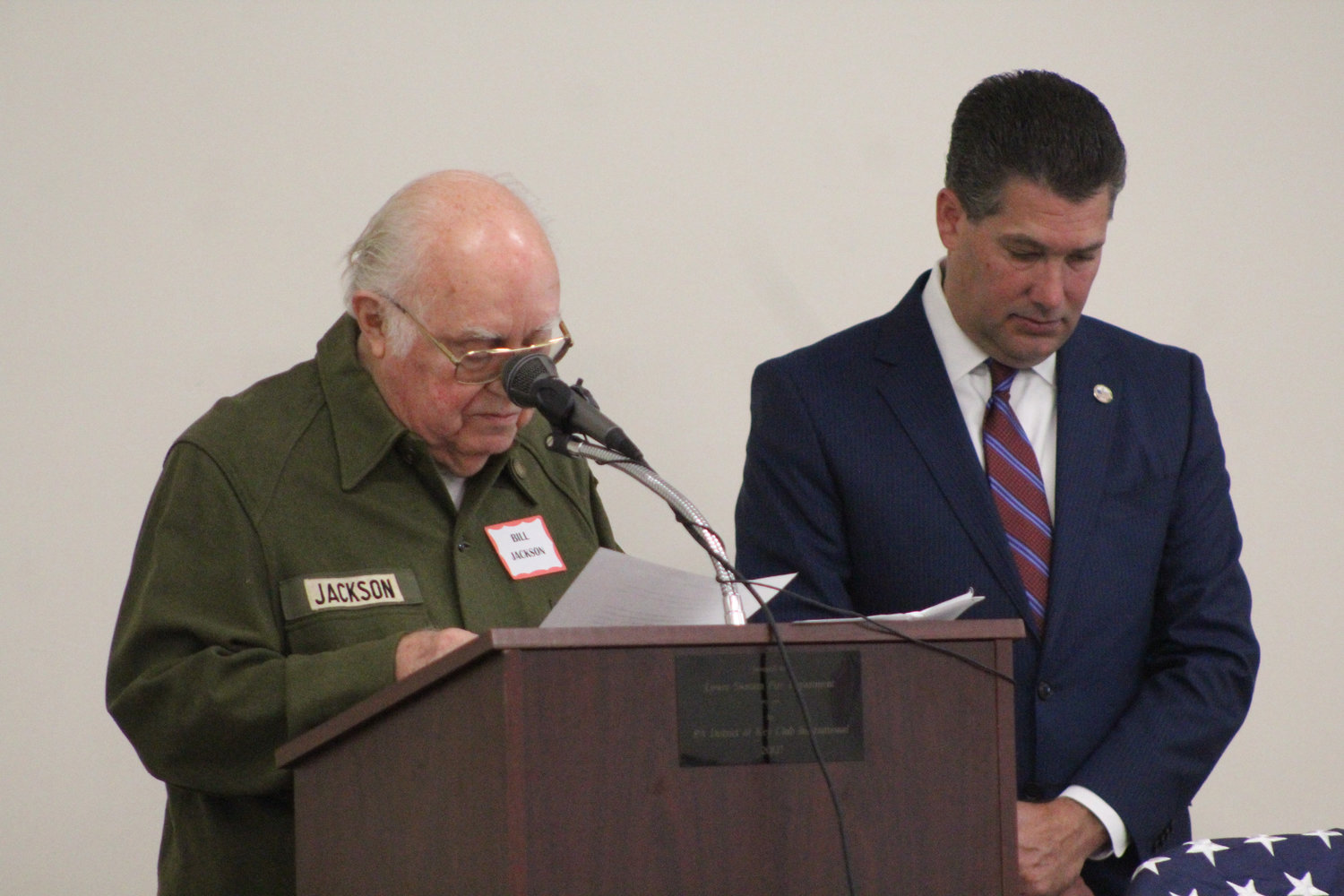 Bill Jackson leads the invocation during Rep. Tom Mehaffie's Veterans Breakfast at the Lower Swatara Fire Hall Nov. 8.