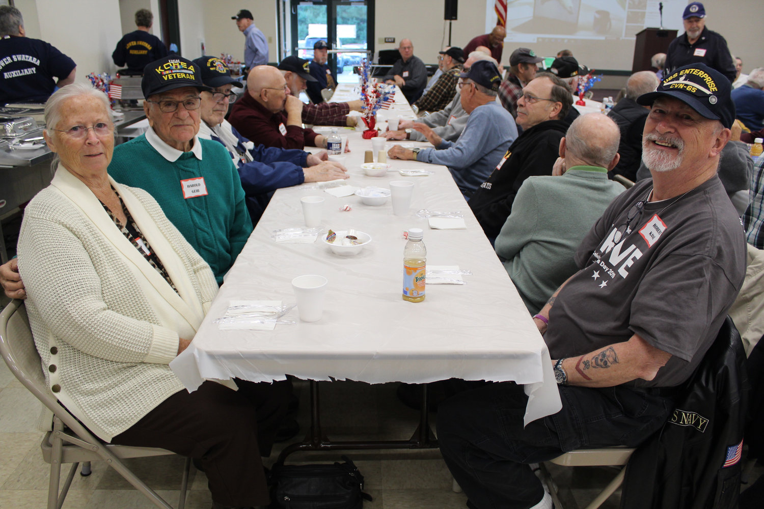Shirley Geib and Navy veterans Harold Geib and Robert Kane attended Rep. Tom Mehaffie's Veterans Breakfast at the Lower Swatara Fire Hall Nov. 8.