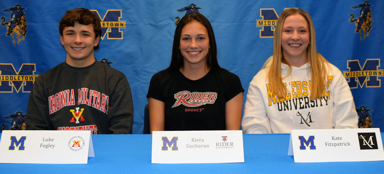 Luke Fegley (Virginia Military Institute), Kiera Guckavan (Rider University) and Kate Fitzpatrick (Millersville University) signed letters of intent Nov. 13.