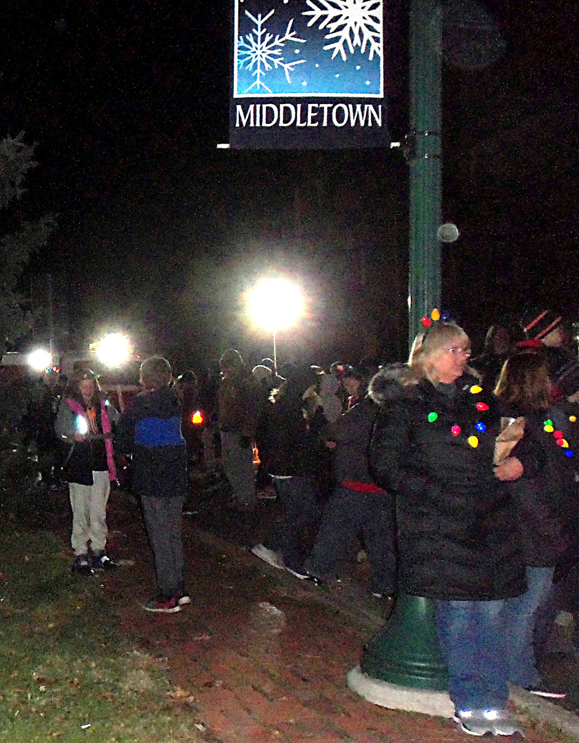 A crowd eagerly awaits the lighting of Middletown borough's Christmas tree Saturday, Nov. 30, at St. Peter's Kierch..