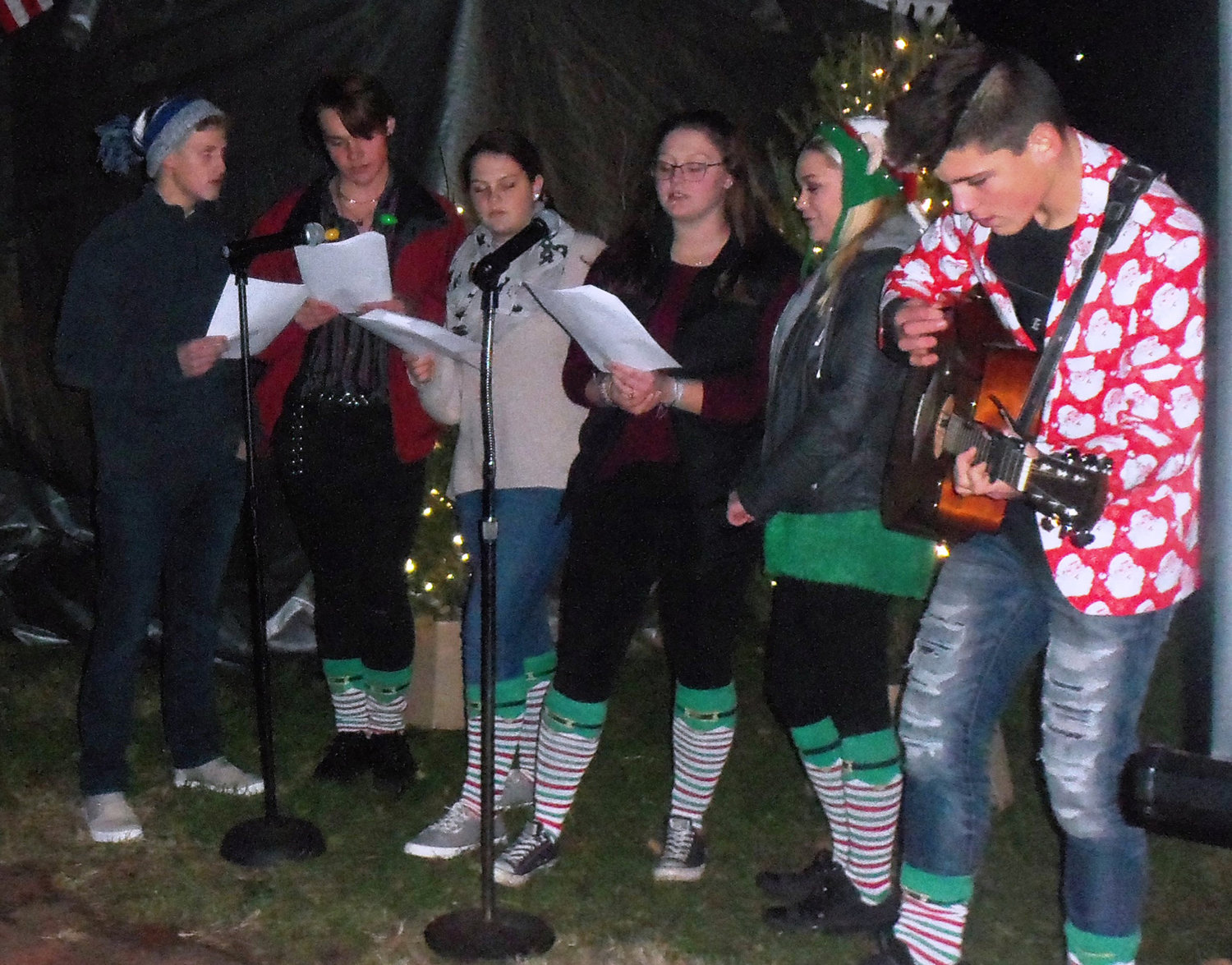 Middletown First Church of God's youth group performed musical numbers during the borough's tree-lighting ceremony on Saturday night, Nov. 30.