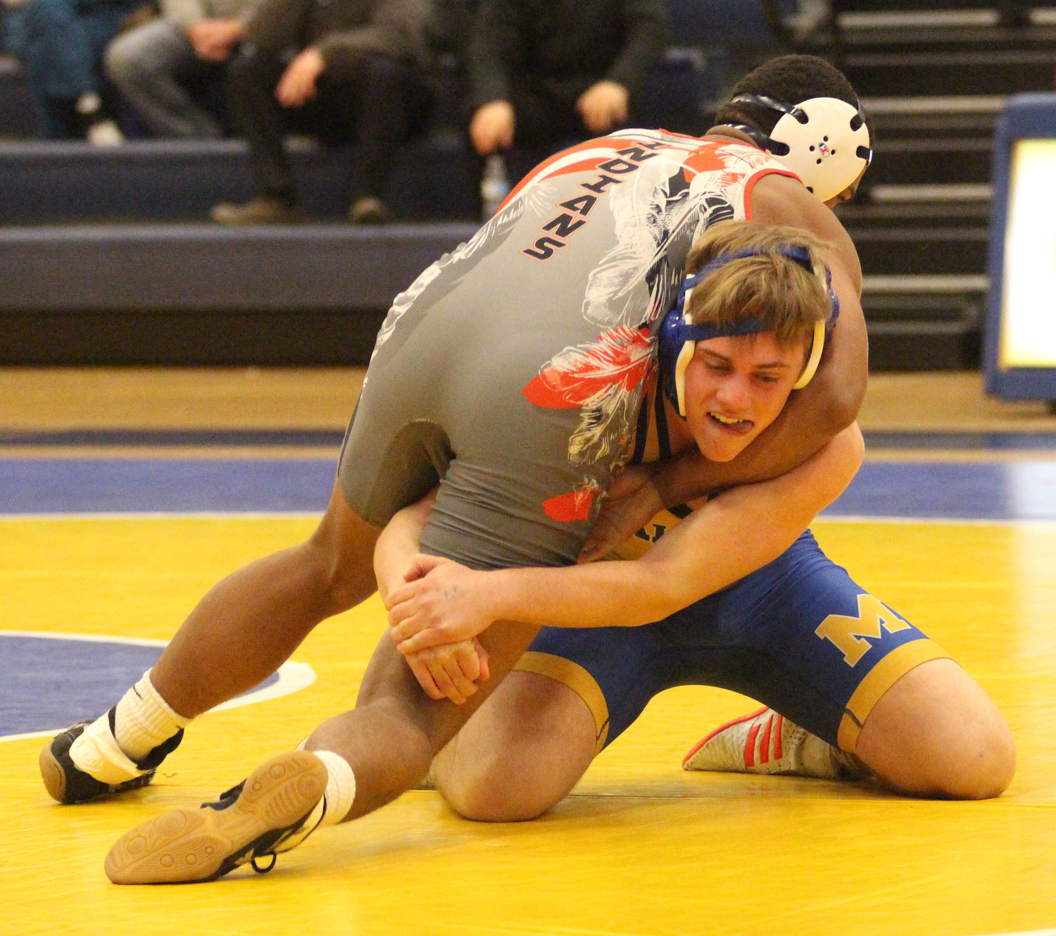 Middletown senior Case Woodley scored a third-period pin over Ransome Turner-Rush of Susquehanna Township at 170 pounds.