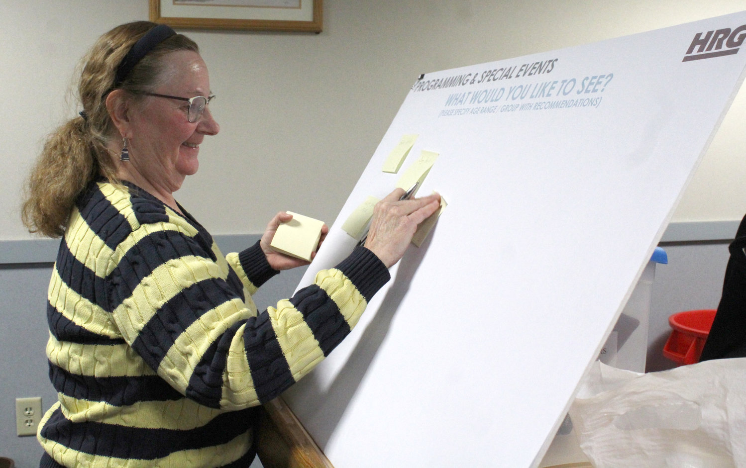 Barb Florence writes down suggestions for Lower Swatara parks programs and events during a meeting Jan. 30.