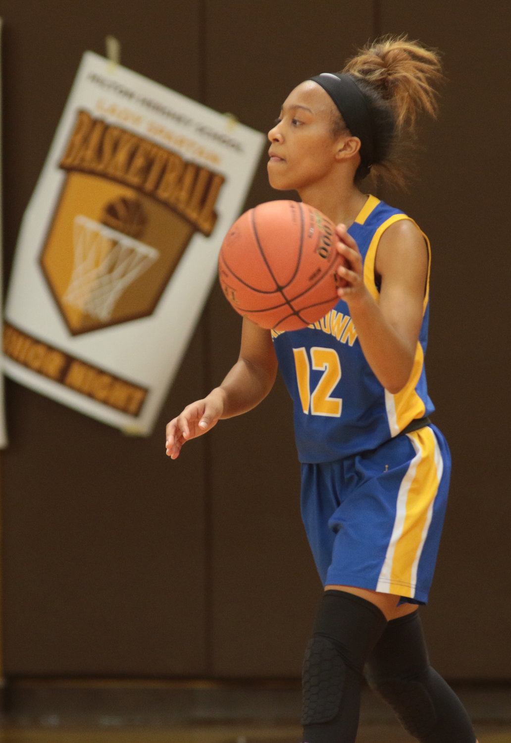 Nakia Scott looks up the court Feb. 4 against Milton Hershey.