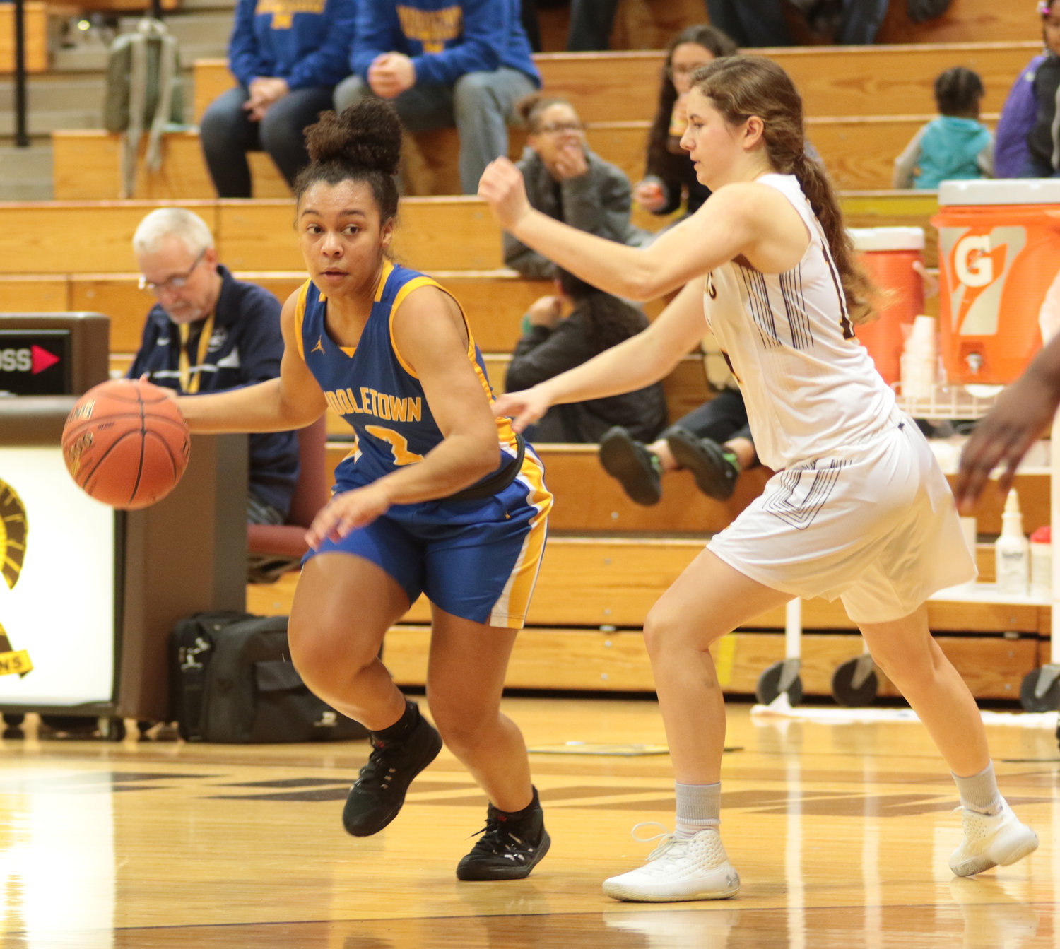 Makayla Claggett drives Feb. 4 against Milton Hershey.