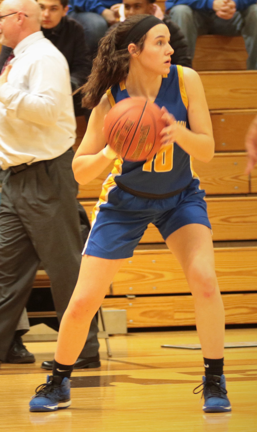 Chloe Cleland looks to pass Feb. 4 against Milton Hershey.