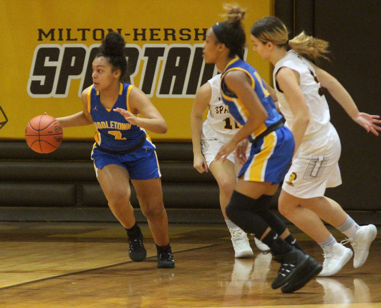 Makayla Claggett dribbles up the court Feb. 4 against Milton Hershey.