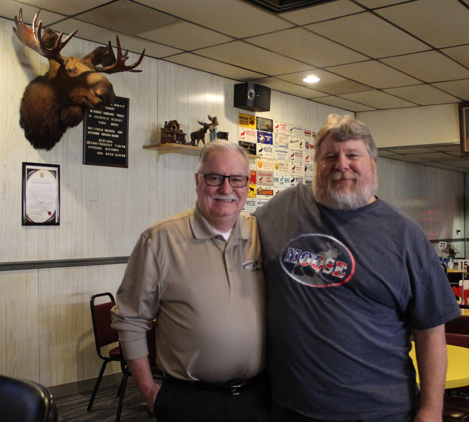 David Donahue, Pennsylvania state president of the Moose Association, and Roger Beery, administrator of the Middletown Moose No. 410, pose in the local Moose location on Mill Street.