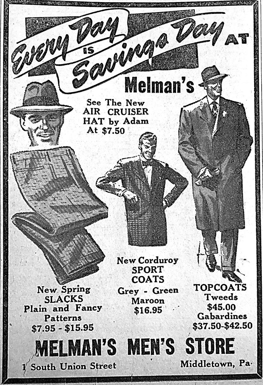 Editor's note: There were few photos in newspapers during this era, so we present an ad from a local store showing what the well-dressed  man was wearing in 1950 ... and the prices.