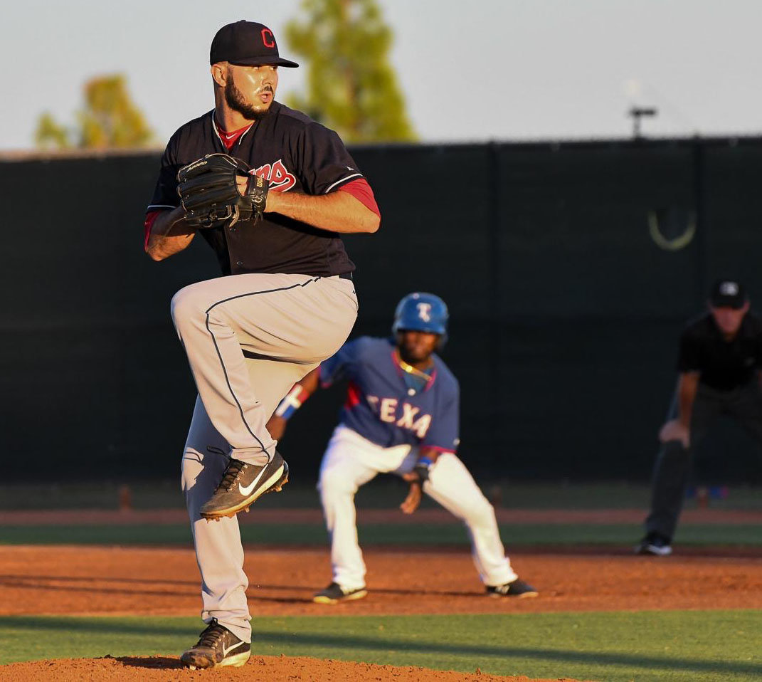 Nathan Ocker fires a pitch for the Indians Blue Team in Arizona last summer.