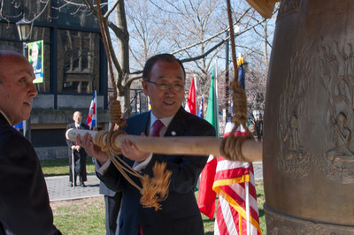 U.N. Secretary-General Ban Ki-moon rings Lehman college's Peace Bell ahead of a March 17 speech.