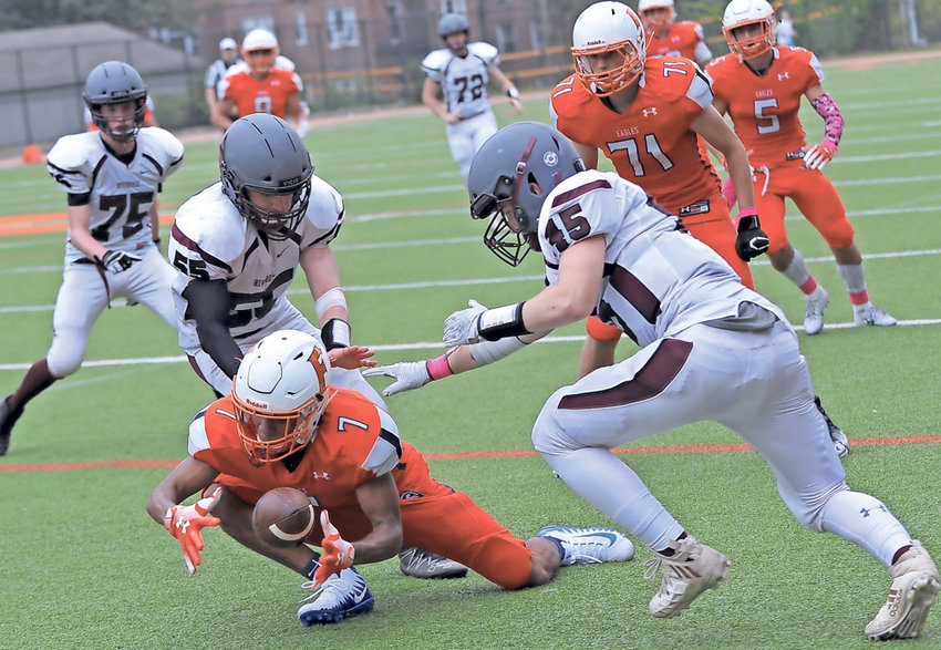 Fieldston's Gabe Hostin and the rest of the Eagles couldn't get a handle on things as they fell to Rye Country Day in the Metropolitan Independent Football League semifinals.