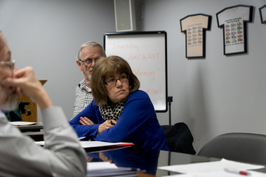 Laura Spalter attends a Community Board 8 meeting last year. At a recent meeting, CB8 elected a new vice chair and a new chair of its environmental and sanitation committee with little notice.