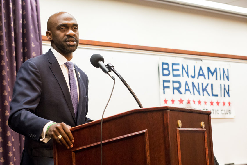Assemblyman Michael Blake makes his case to be the city's next public advocate at a forum held by the Benjamin Franklin Reform Democratic Club at Manhattan College Nov. 28 ahead of a special election to be held early next year. Blake represents Assembly District 79, and touted his roots in the Bronx and record of public service.