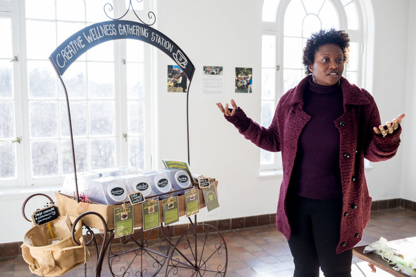 Shervone Neckles talks about her interactive art piece, 'Creative Wellness Gathering Station,' that she has worked on as part of the Winter Workspace program at Wave Hill. Visitors are encouraged to combine different types of tea for free.