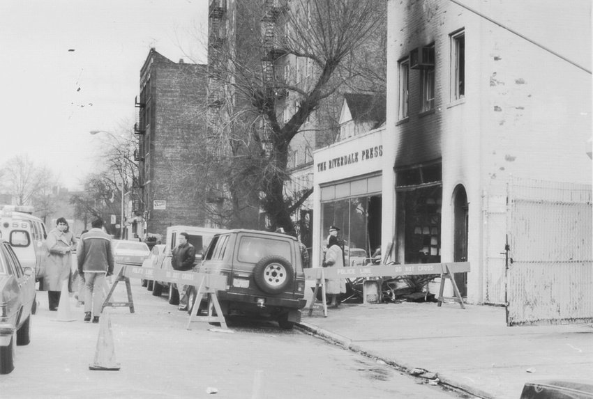 Police barricades surround The Riverdale Press office at 6155 Broadway after a  firebomb attack Feb. 28, 1989.