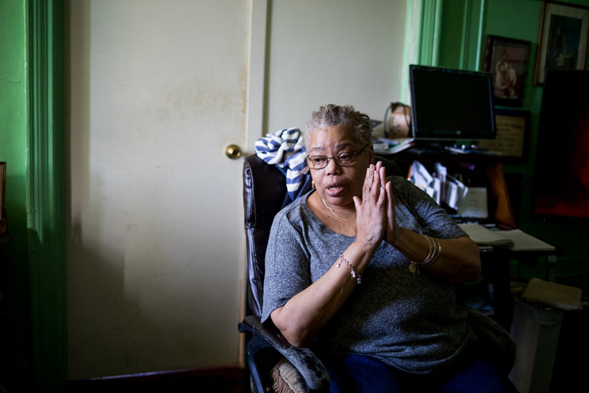 Elizabeth Thompson talks about her struggles living in an ailing Claflin Avenue building where she claims her landlord has overcharged her rent for decades. Assemblyman Jeffrey Dinowitz introduced a bill Feb. 8 to eliminate the current four-year statute of limitations on rent overcharge cases.