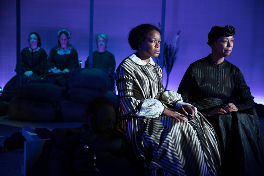 Quincy Tyler Bernstine and Karen Kandel   bring the life — more or less — of 'Marys Seacole,' a new play from Jackie Sibblies Drury. Also taking part, in the background, are Ismenia Mendes, Lucy Taylor and Marceline Hugot.