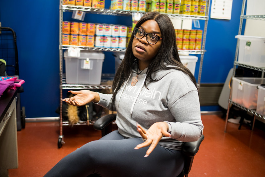 Lehman College junior Jessica Mills talks about her volunteer work in the school's food pantry, one of several ways Lehman tries to help its students struggling to eat or find a place to live. A new study shows around half of CUNY students face significant food and housing troubles.