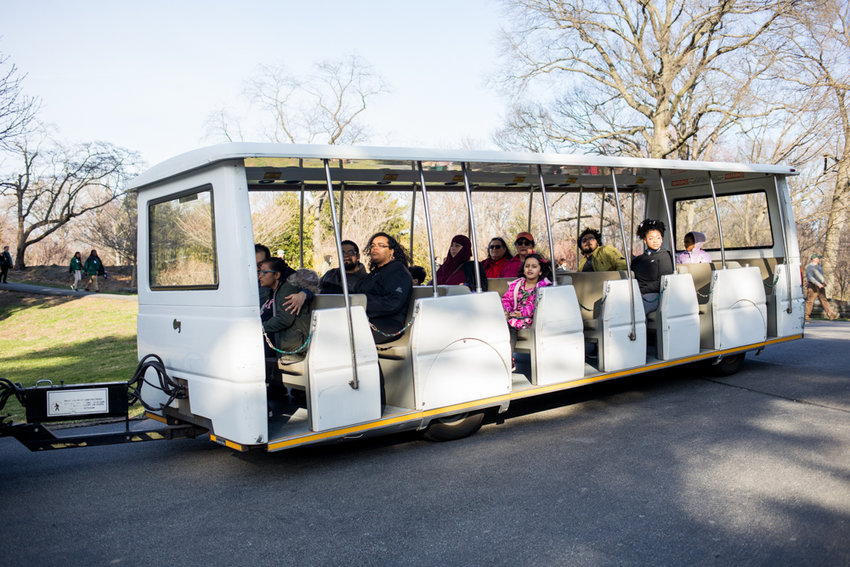 Visitors at the New York Botanical Garden ride a tram that could be replaced in sooner rather than later with a $1 million upgrade.